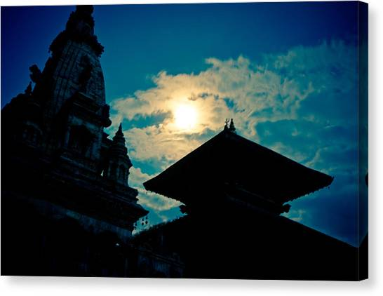 Beautiful Night Scene In Old Town Bhaktapur Canvas Print