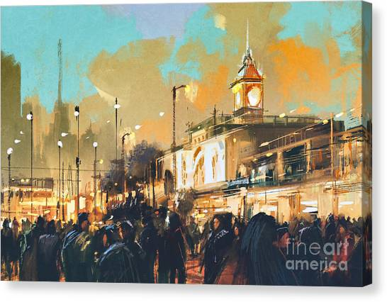 Destinations Canvas Print - Beautiful Painting Of People In A City by Tithi Luadthong