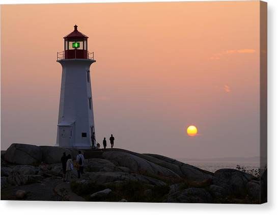 Beautiful Peggy's Cove Lighthouse Sunset Canvas Print