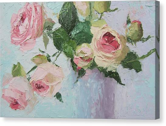 Beautiful Roses Oil Palette Knife Painting Canvas Print