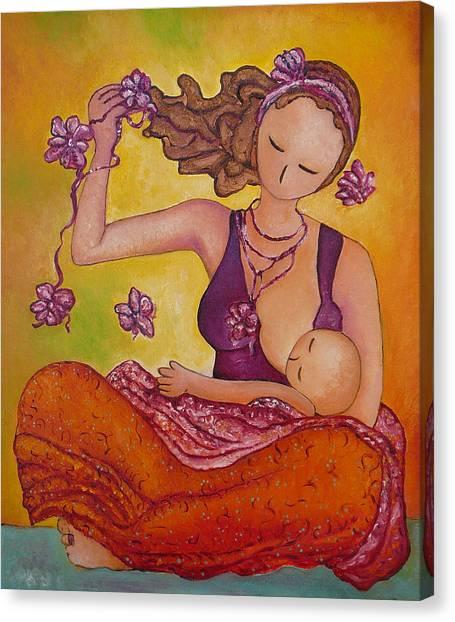 Beautiful Sitting Mama Breastfeeding Canvas Print
