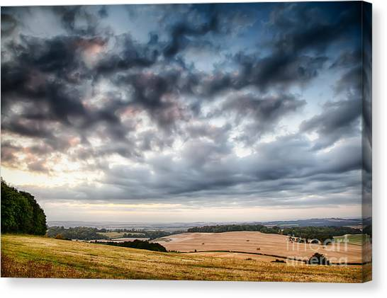 Rainclouds Canvas Print - Beautiful Skies Over Farmland by Simon Bratt Photography LRPS