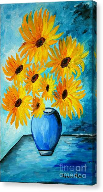 Beautiful Sunflowers In Blue Vase Canvas Print
