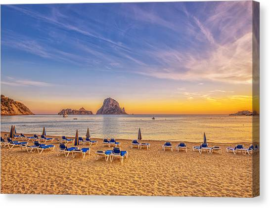 Beautiful Sunset Beach At Cala D´hort On Ibiza Canvas Print by Juergen Sack