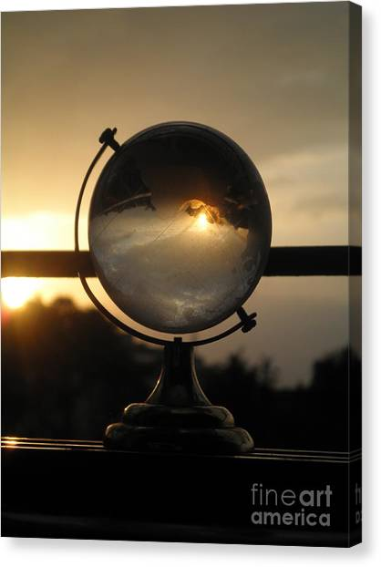 Fire Ball Canvas Print - Beautiful Sunset In Crystal Globe by Artist Nandika  Dutt