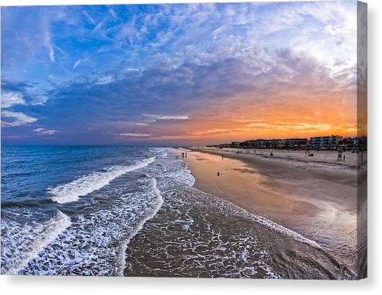 Canvas Print featuring the photograph Beautiful Sunset Over Tybee Island by Mark E Tisdale