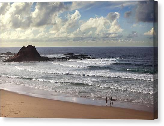 Canvas Print featuring the photograph Beautiful Surfing  Beach Portugal  by Georgi Djadjarov