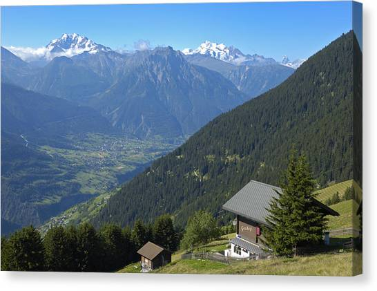 Beautiful View From Riederalp - Swiss Alps Canvas Print