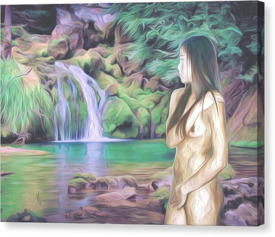 Female Nudes Canvas Print - Beauty By The Falls by Oscar Del Mundo
