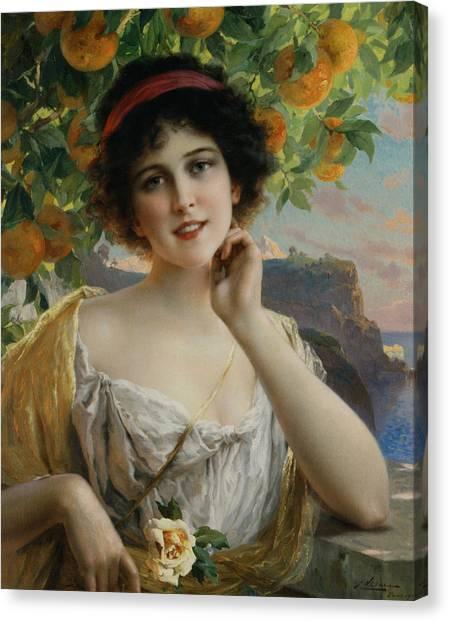 Orange Tree Canvas Print - Beauty Under The Orange Tree by Emile Vernon