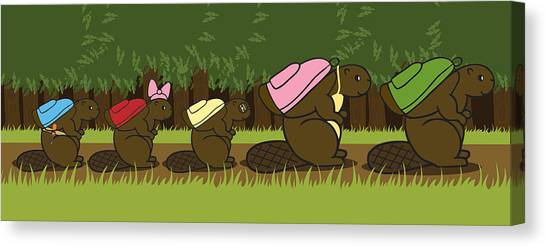 Beavers Canvas Print - Beaver Family Walk by Christy Beckwith