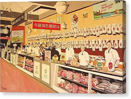 Beavis Meat In The Public Market Canvas Print by Paul Guyer