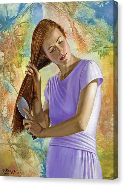 Background Canvas Print - Becca Brushing Her Hair by Paul Krapf