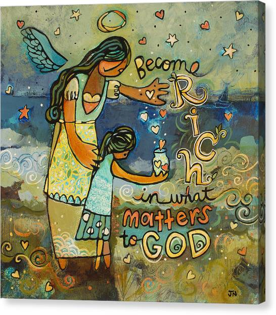 Angel Canvas Print - Become Rich In What Matters To God by Jen Norton