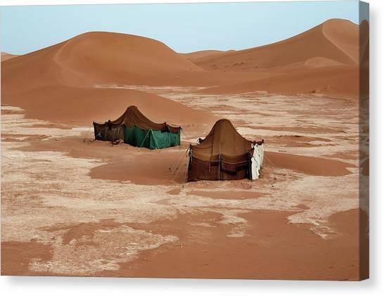 Sahara Desert Canvas Print - Bedouin Tents And Sand Dunes by Jon Wilson