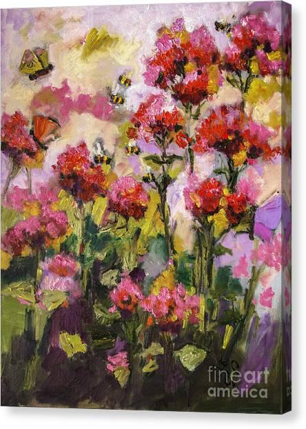 Beebalm And Bees Canvas Print