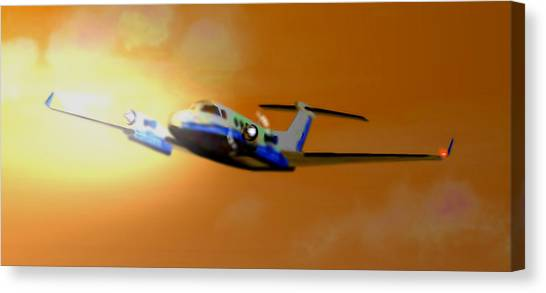 Prop Planes Canvas Print - Beechcraft - King Air 350 by Marcello Cicchini