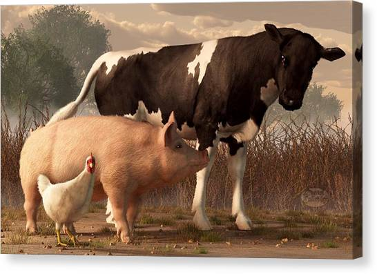 Chicken Farms Canvas Print - Beef Pork And Poultry  by Daniel Eskridge