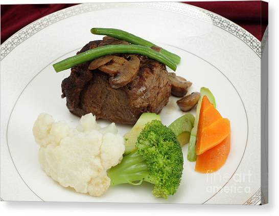 Fillet Canvas Print - Beef Tournedos Plate by Paul Cowan
