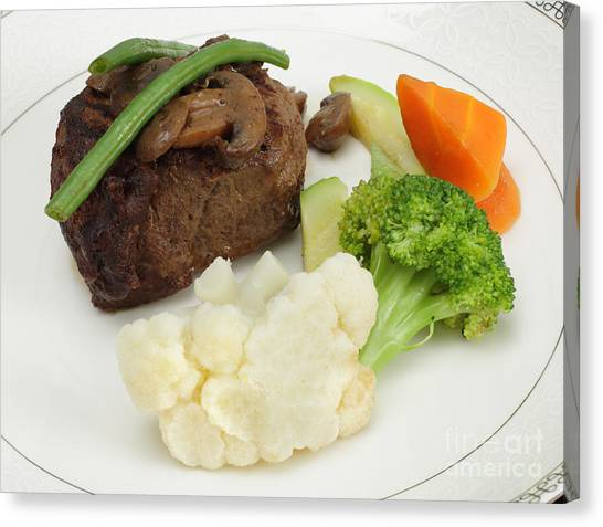 Fillet Canvas Print - Beef Tournedos With Veg by Paul Cowan
