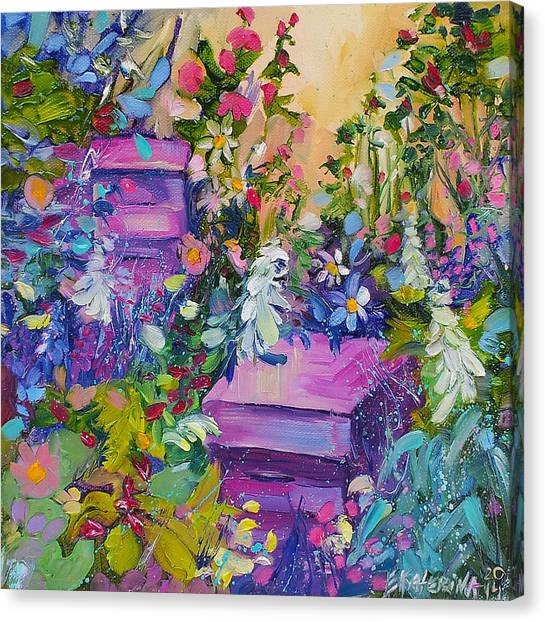 Beehives In The Garden Canvas Print