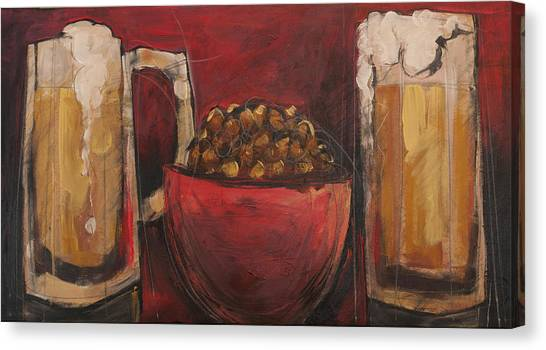 Pint Glass Canvas Print - Beer And Beernuts by Tim Nyberg
