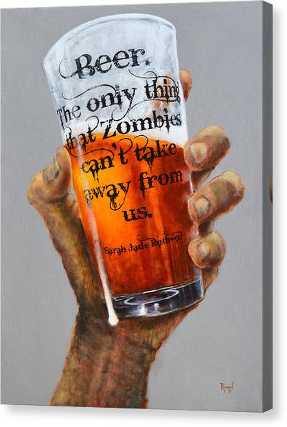 Pint Glass Canvas Print - Beer And Zombies by Glenn Ruthven