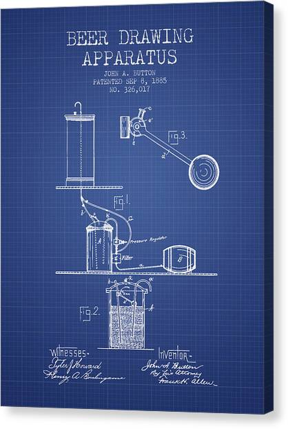 Keg Canvas Print - Beer Apparatus Patent From 1885 - Blueprint by Aged Pixel