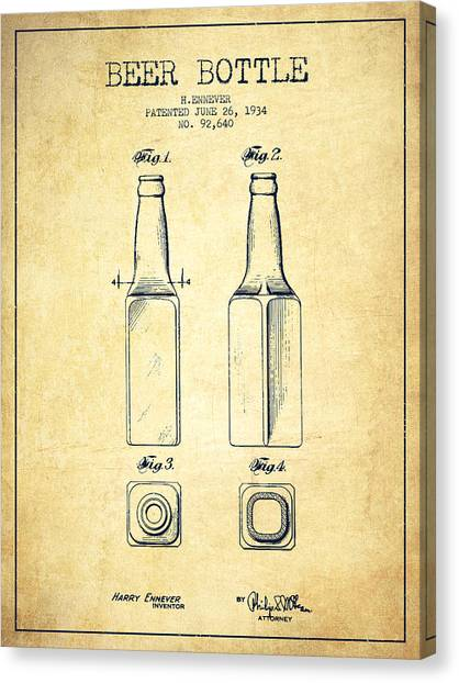 Beer Canvas Print - Beer Bottle Patent Drawing From 1934 - Vintage by Aged Pixel