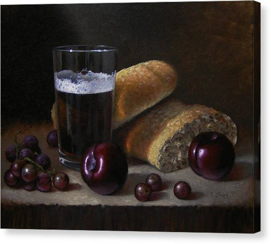Beer Bread And Fruit Canvas Print by Timothy Jones