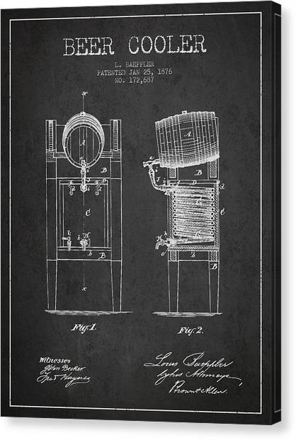 Keg Canvas Print - Beer Cooler Patent Drawing From 1876 - Dark by Aged Pixel