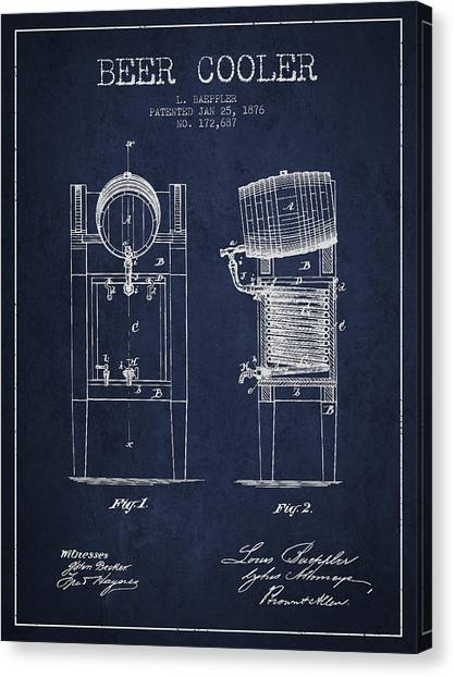 Keg Canvas Print - Beer Cooler Patent Drawing From 1876 - Navy Blue by Aged Pixel