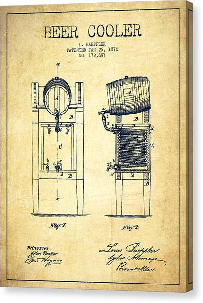 Keg Canvas Print - Beer Cooler Patent Drawing From 1876 - Vintage by Aged Pixel