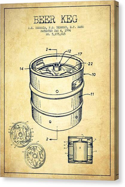 Keg Canvas Print - Beer Keg Patent Drawing - Vintage by Aged Pixel