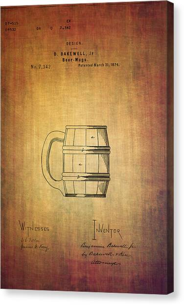 Pint Glass Canvas Print - Beer Mug Patent B.bakewell From 1874 by Eti Reid