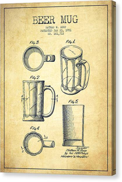 Beer Canvas Print - Beer Mug Patent Drawing From 1951 - Vintage by Aged Pixel