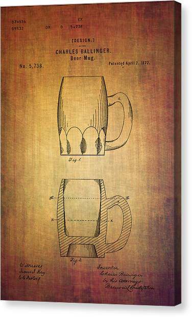Pint Glass Canvas Print - Beer Mug Patent From 1872 by Eti Reid