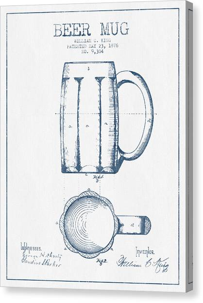 Bar Canvas Print - Beer Mug Patent From 1876 -  Blue Ink by Aged Pixel