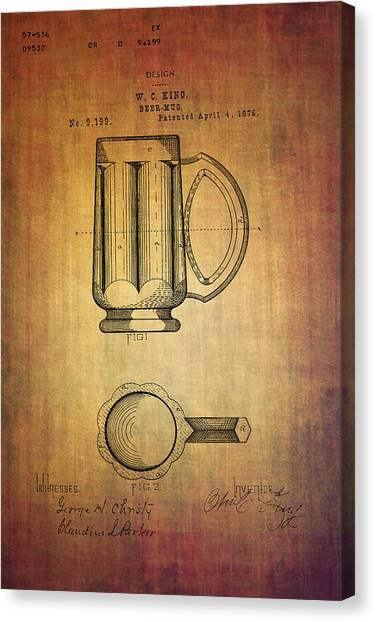 Pint Glass Canvas Print - Beer Mug Patent W.c.king From 1876 by Eti Reid