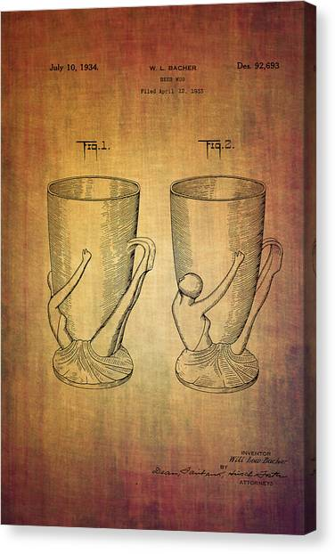 Pint Glass Canvas Print - Beer Mugs Patent From 1934 by Eti Reid