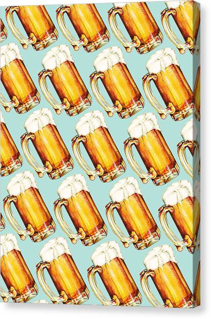 Dad Canvas Print - Beer Pattern by Kelly Gilleran