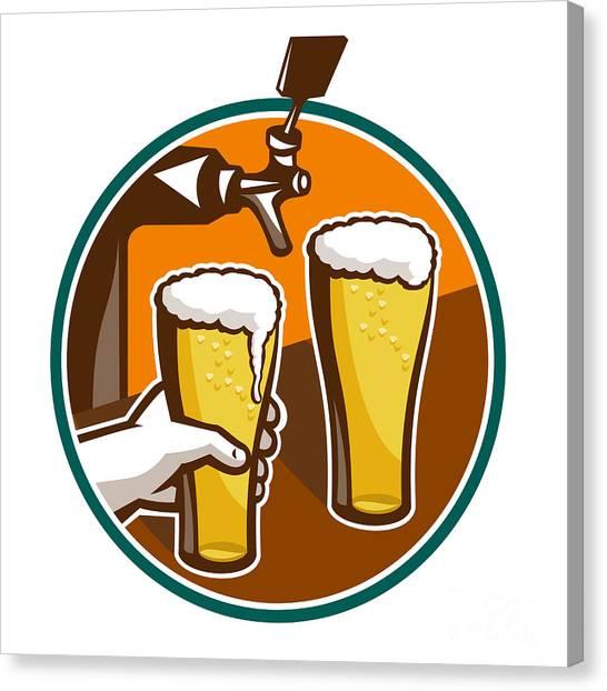 Pint Glass Canvas Print - Beer Pint Glass Hand Tap Retro by Aloysius Patrimonio