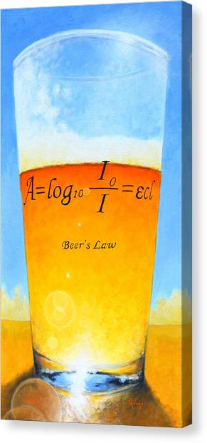 Pint Glass Canvas Print - Beer's Law by Glenn Ruthven