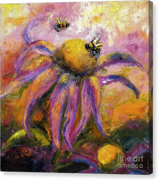 Bees On Purple Coneflower Blossoms Canvas Print