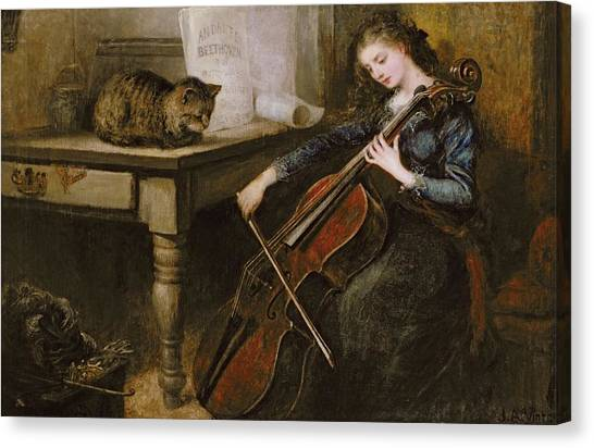 Cellists Canvas Print - Beethovens Andante by John Alfred Vintner