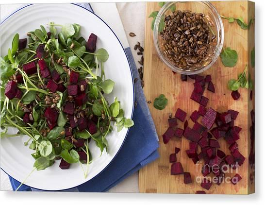 Watercress Canvas Print - Beetroot Watercress Salad by Charlotte Lake