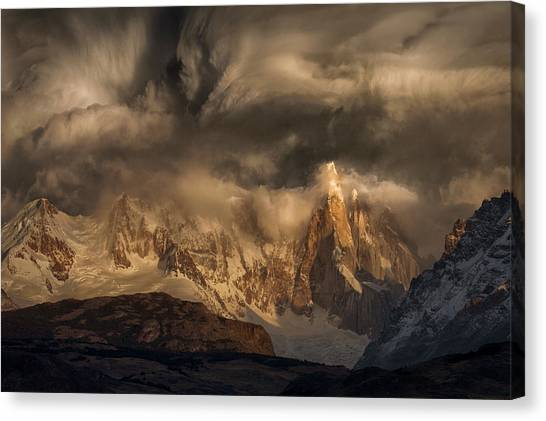 Winter Storm Canvas Print - Before The Storm Covers The Mountains Spikes by Peter Svoboda, Mqep