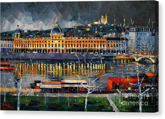 Facade Canvas Print - Before The Storm - View On Hotel Dieu Lyon And The Rhone France by Mona Edulesco