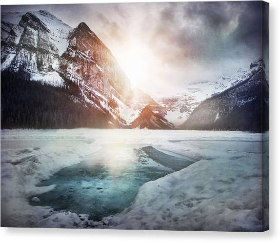 Snow Melt Canvas Print - Beginning To Thaw by Kym Clarke