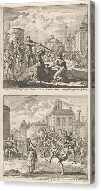 Early Christian Art Canvas Print - Beheading Of A Christian In Rome And Saint Agnes Who by Jan Luyken And Barent Visscher And Jacobus Van Hardenberg